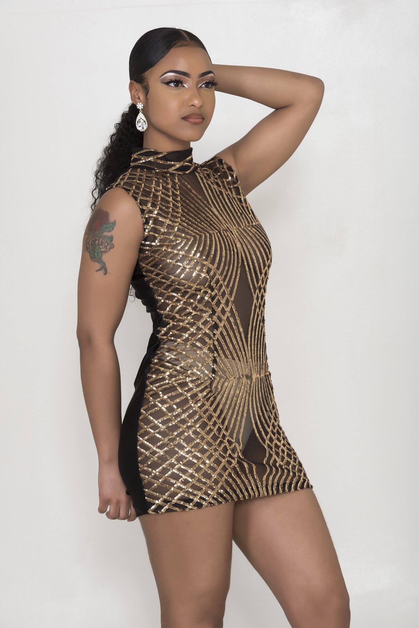 Juis Black And Gold Mini Dress Bounty Cove